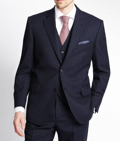 Notch Lapel Pinstripe Navy Blue Suit