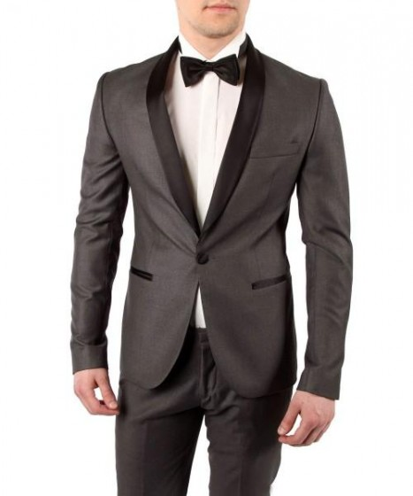Mens One Button Charcoal suit