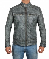 distressed grey leather motorcycle jacket
