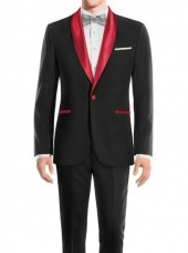 Black Prom Red Shawl Suit