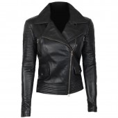 Quilted Asymmetrical Leather Jacket Womens