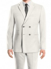 Mens Double Breasted White Suit